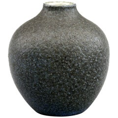 Martin Brothers Art Pottery Black Textured Glaze Vase by Walter Martin, 1901