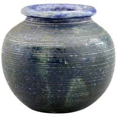 Martin Brothers Art Pottery Blue and Black Glazed Urn Shape Vase, 19th Century