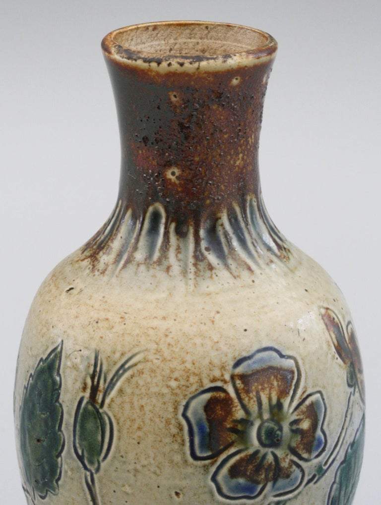 Martin Brothers Art Pottery Dog Rose Vase, 19th Century For Sale 4