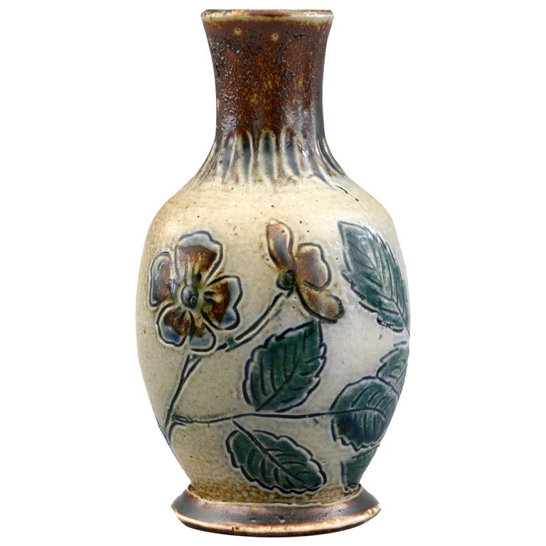 Martin Brothers Art Pottery Dog Rose Vase, 19th Century For Sale