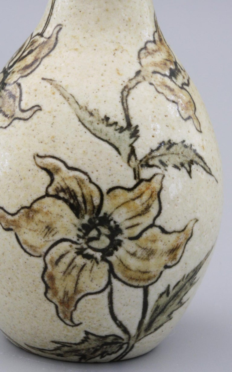 Arts and Crafts Martin Brothers Art Pottery Floral Design Vase, Dated 1897 For Sale