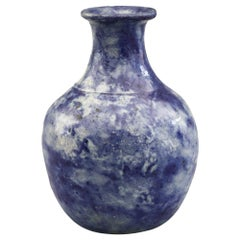 Martin Brothers Art Pottery Mottled Blue Glazed Vase Dated 1894