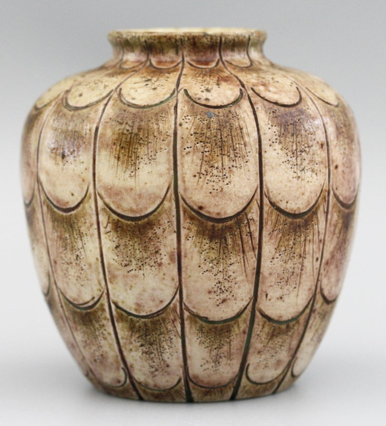 Early 20th Century Martin Brothers Art Pottery Stylised Incised Leaf Pattern Vase Dated 1906