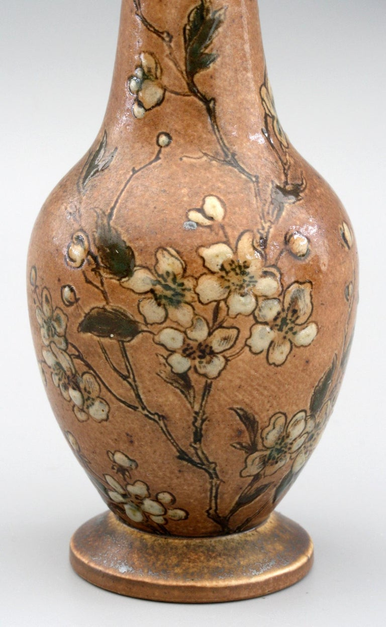 Martin Brothers Art Pottery Vase with Climbing Roses, Dated 1888 For Sale 3
