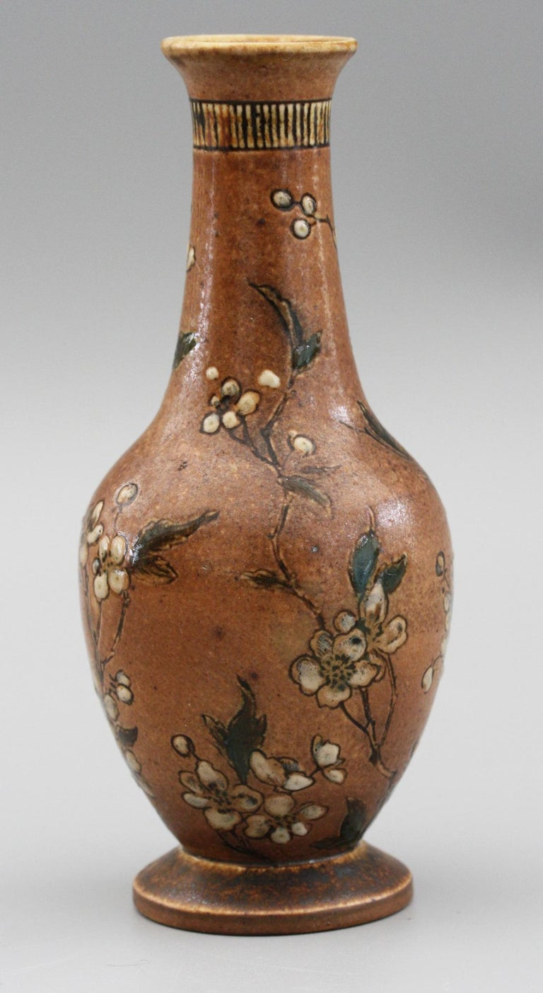 Martin Brothers Art Pottery Vase with Climbing Roses, Dated 1888 For Sale 2