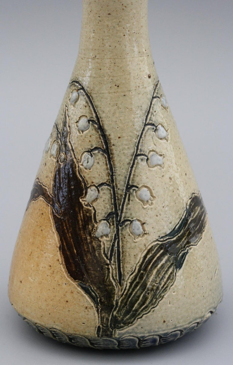 Martin Brothers Lily of the Valley Stoneware Art Pottery Vase, 19th Century For Sale 2