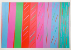Colorful Striped Abstract Silkscreen by Martin Canin 1972