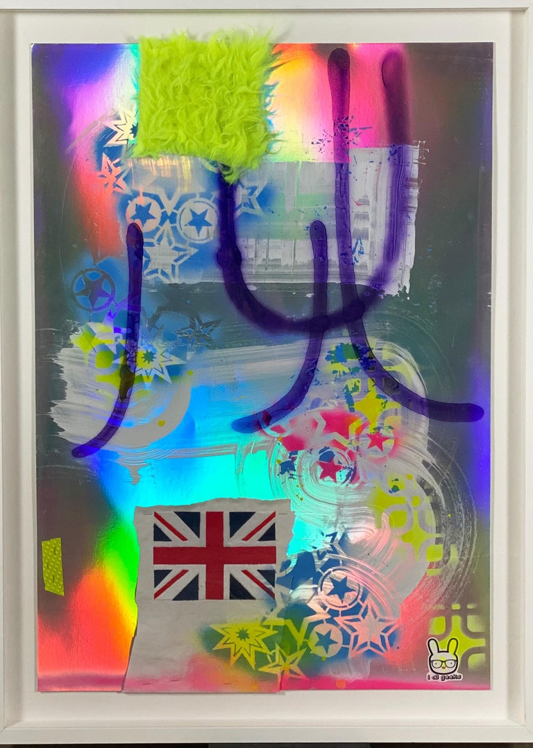 Silver, Abstract, Colorful, Acrylic, Paint, Paper, Neon, Multicolor For Sale 1
