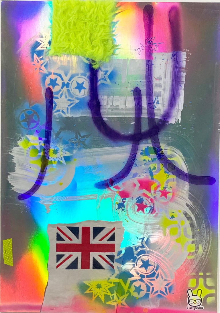 Silver, Abstract, Colorful, Acrylic, Paint, Paper, Neon, Multicolor - Mixed Media Art by Martin Durazo