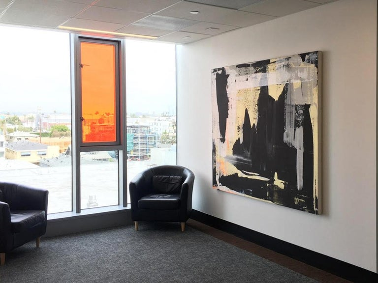 Abstract, Expressionist, Acrylic, Paint, Black, Gold, Orange, Grey - Painting by Martin Durazo