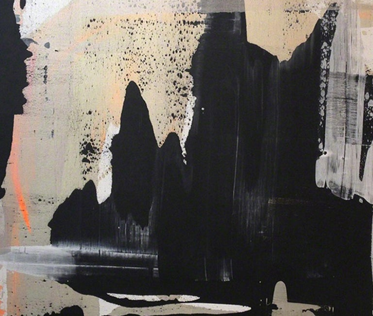 Abstract, Expressionist, Acrylic, Paint, Black, Gold, Orange, Grey - Abstract Expressionist Painting by Martin Durazo