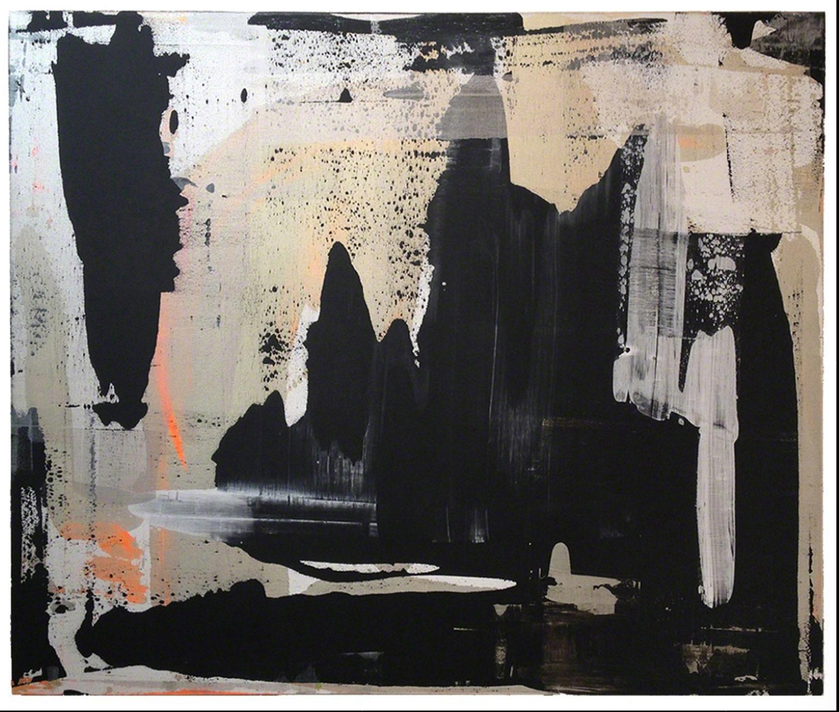 Abstract, Expressionist, Acrylic, Paint, Black, Gold, Orange, Grey
