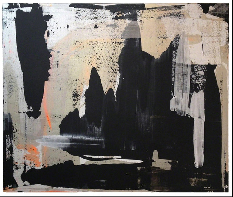 Martin Durazo Abstract Painting - Abstract, Expressionist, Acrylic, Paint, Black, Gold, Orange, Grey