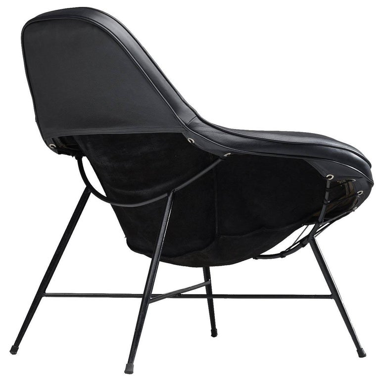 Martin Eisler Armchair in Steel and Leather For Sale