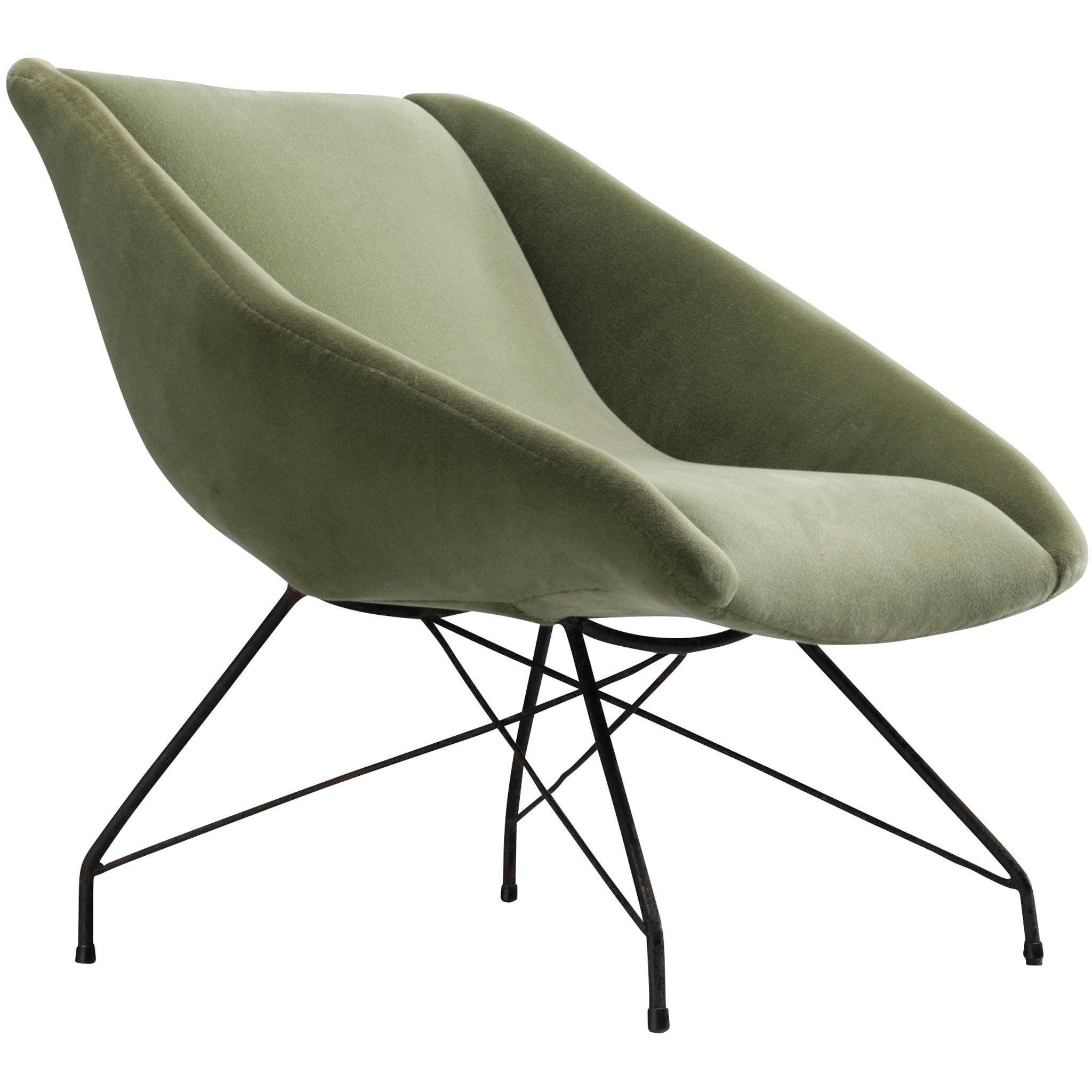 Martin Eisler & Carlo Hauner Green Velvet Lounge Chair