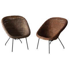 Martin Eisler Carlo Hauner, Lounge Chairs, Rattan, Steel, Forma, Brazil, c. 1955