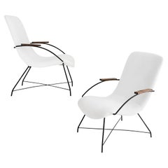Martin Eisler & Carlo Hauner Midcentury Brazilian Armchairs White Fabric Metal