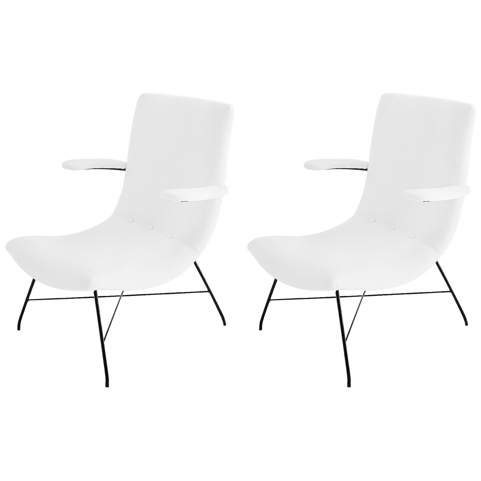 Martin Eisler & Carlo Hauner Pair of Midcentury Brazilian White Lounge Chairs