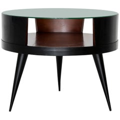 Martin Eisler & Carlo Hauner Round Brazilian Wood and Glass Coffee Table