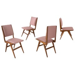 Martin Eisler & Carlo Hauner Set of Four Brazilian Pink Silk Wood Dining Chairs
