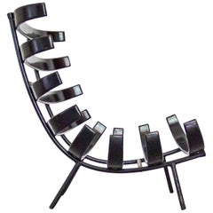 "Martin Eisler ""Costela"" Lounge Chair in Black Iron, Ebonized Wood, Brazil, 1950s"