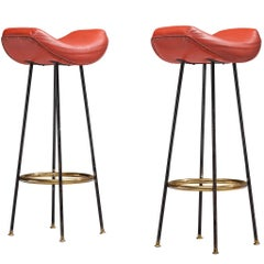 Martin Eisler for Forma Pair of Bar Stools in Red Leather