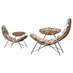 Martin Eisler Pair of Rare Early Edition Reversible Chairs in Original Condition
