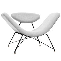 Martin Eisler Reversible Chair Customizable in Off-White Fabric