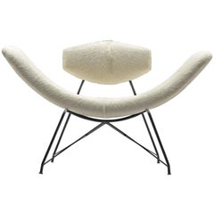 Martin Eisler Reversible Chair Reupholstered in White Cowhide