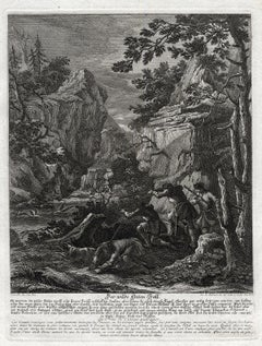 A hunting scene print with a wild duck trap by Ridinger - Engraving - 18th c