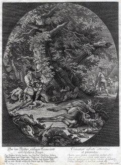 Antique hunting scene print in the summer by Ridinger - Engraving - 18th century