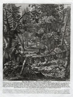 Antique hunting scene print with a deer trap by Ridinger - Engraving - 18th c