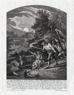 Antique hunting scene print with fox and a pike by Ridinger - Engraving - 18th c