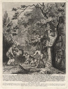 Antique hunting scene print with trained dogs by Ridinger - Engraving - 18th c