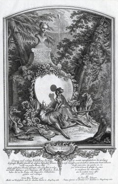 Antique print showing Selene and a hunting dog by Ridinger - Engraving - 18th c