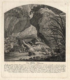 Hunting scene with a swan surrounded by dogs by Ridinger - Engraving - 18th c