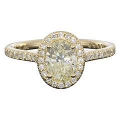 Martin Flyer 1.20 Carat GIA Certified Oval Diamond Halo Engagement Ring