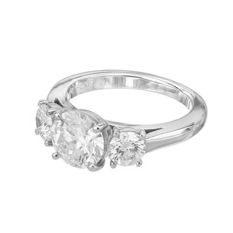 Round Cut Martin Flyer GIA 1.52 Carat Diamond Platinum Three-Stone Engagement Ring For Sale