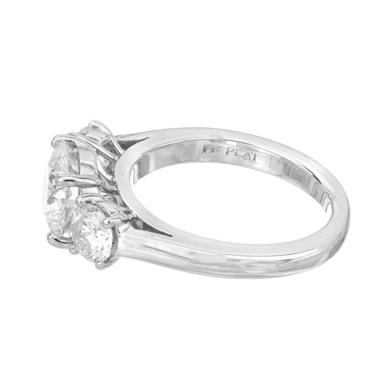 Women's Martin Flyer GIA 1.52 Carat Diamond Platinum Three-Stone Engagement Ring For Sale