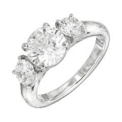 Martin Flyer GIA 1.52 Carat Diamond Platinum Three-Stone Engagement Ring
