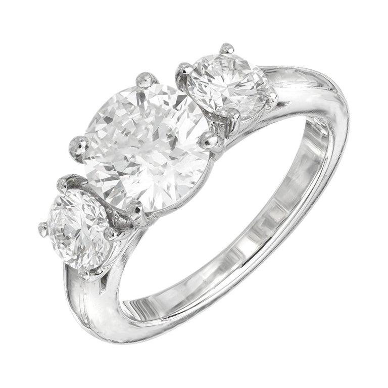 Martin Flyer GIA 1.52 Carat Diamond Platinum Three-Stone Engagement Ring For Sale