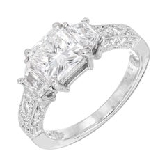 Martin Flyer GIA Cert 1.22 Carat Diamond Platinum Three-Stone Engagement Ring