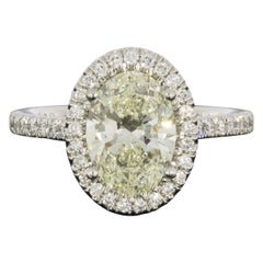 Martin Flyer Platinum 2.50 Carat Oval Diamond Halo Engagement Ring