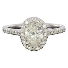 Martin Flyer White Gold 1.31 Carat GIA Certified Oval Diamond Halo Ring