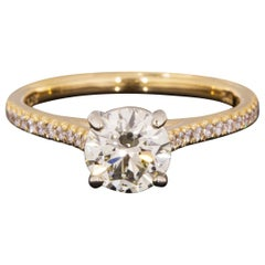 Martin Flyer Yellow Gold GIA Certified 1.21 Carat Round Diamond Engagement Ring