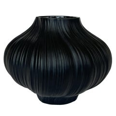 Martin Freyer Black Unglazed Porcelain Plissee Vase for Rosenthal