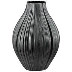 Martin Freyer Vase Porcelain Pleated Plissee Black 1968