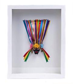 Mascara Negrito / Wood carving Lacquer Sculpture Mexican Folk Art