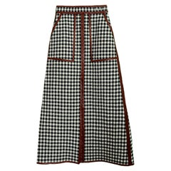 Martin Grant NEW A-Line Linen-Blend Skirt w. Patent Trim sz FR34 rt $1,975