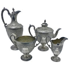 Martin & Hall Victorian Silver Plated English Four Pieces Tea Set, 1898